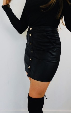 Leather Button Mini Skirt in Black by Style Mode