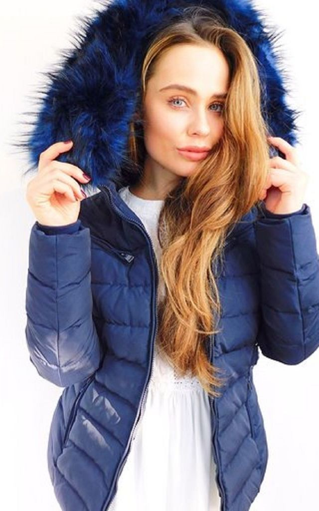 Navy Faux Fur Parka by Style Mode