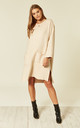 Oversized Knitted Ribbed Jumper Dress in Beige by CY Boutique