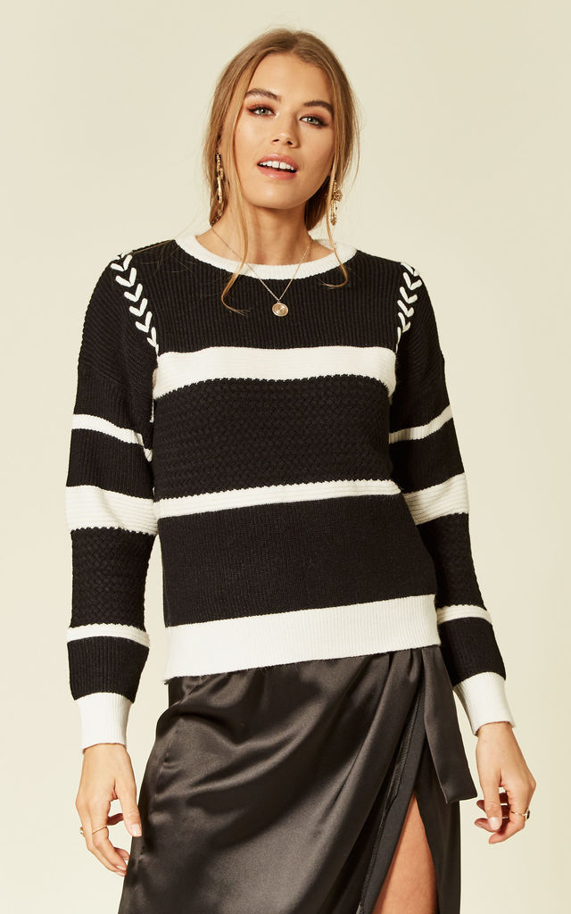 Fine Knit Long Sleeve Jumper in Black and White Stripe by CY Boutique