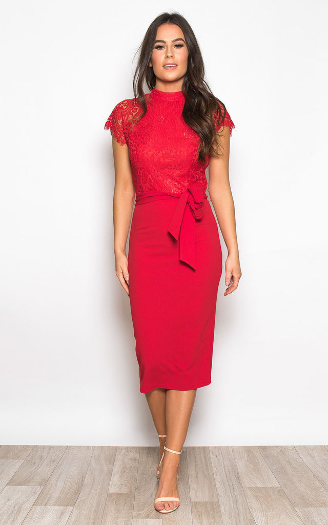 a2d9e5dd5812b Lyla High Neck Lace Top Midi Dress Red by Girl In Mind
