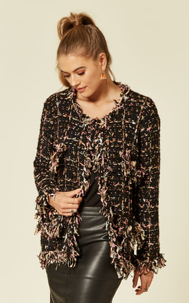 Knitted Long Sleeve Jacket and Black and Pink Tweed Effect by CY Boutique