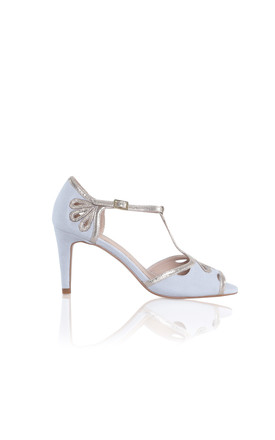 Esme High Heeled Sandals in Grey Ultra Suede & Gold Shimmer by Perfect Shoes