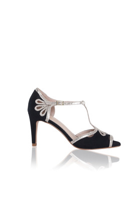 Esme High Heeled Sandals in Black Ultra Suede & Gold Shimmer by Perfect Shoes