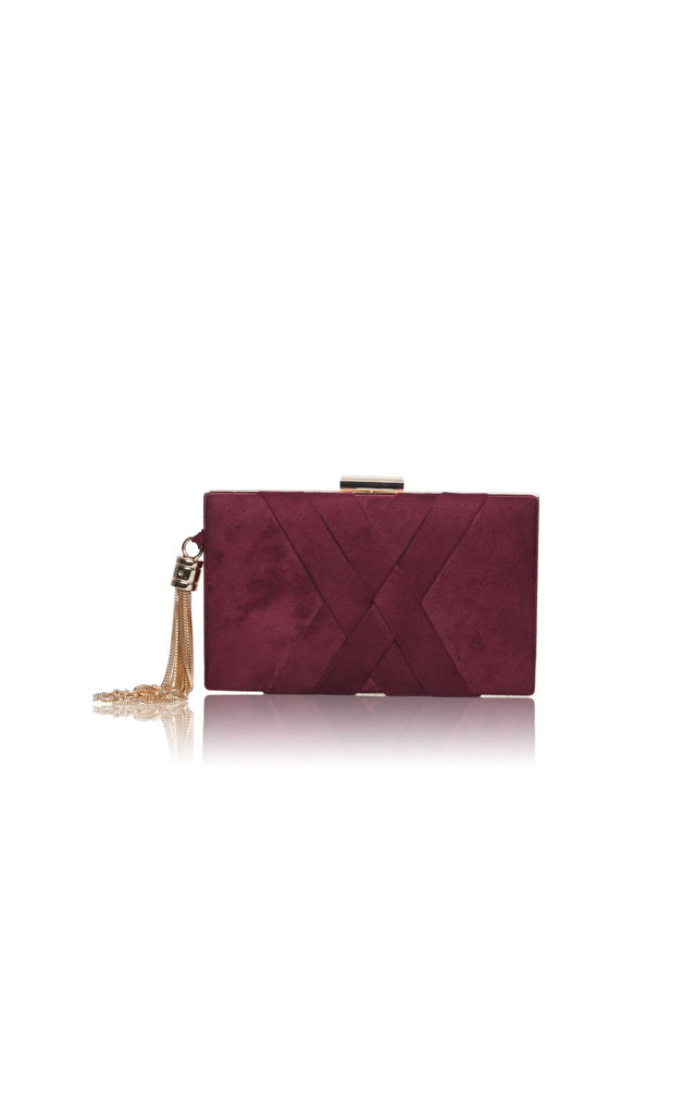Anise Crisscross Detail Box Clutch bag in Mulberry Red by Perfect Shoes