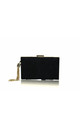 Anise Crisscross Detail Box Clutch bag in Black Ultra Suede by Perfect Shoes