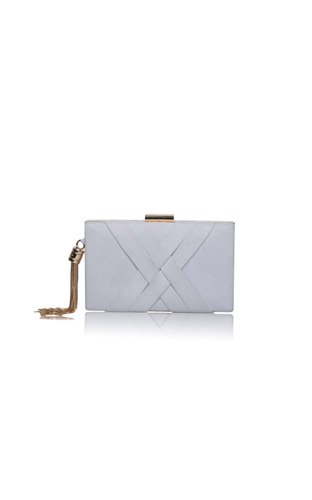 Anise Crisscross Detail Box Clutch bag in Grey Ultra Suede by Perfect Shoes