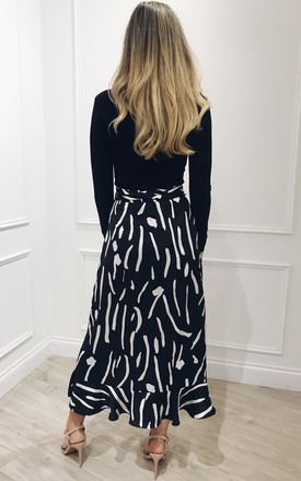 EXCLUSIVE Lulu Wrap Midi Skirt in Black and White Print by Pretty Lavish