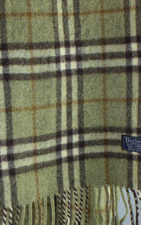 Vintage Burberry Check Lambswool Scarf in Light Green by Re:dream Vintage