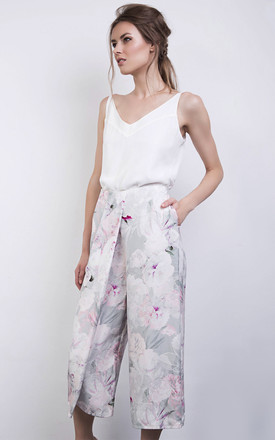Pink Floral Print Silk Culottes Trousers by ABIGAIL LONDON Product photo