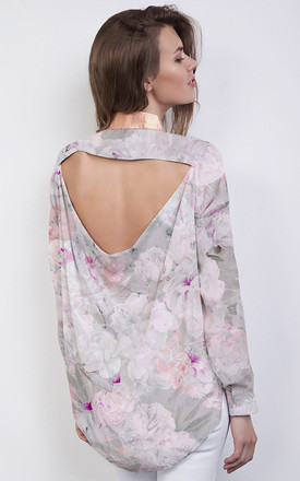 Pink Floral Print And Rose Gold Collar Backless Silk Shirt by ABIGAIL LONDON Product photo