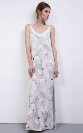 Pink White Floral Print Silk Maxi Dress by ABIGAIL LONDON Product photo