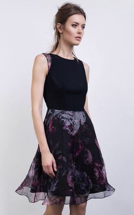 Sheer Floral Print Silk And Cotton Skater Dress In Navy Pink by ABIGAIL LONDON Product photo
