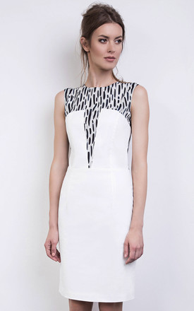 Animal Print Silk Cotton Bodycon Dress In Navy White by ABIGAIL LONDON Product photo
