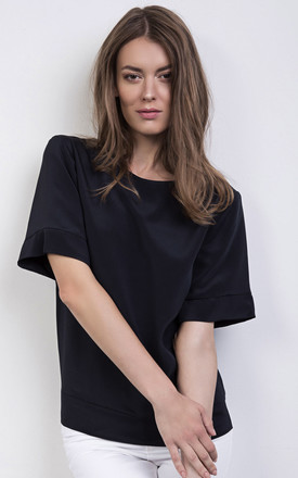 Navy Silk Top With Kimono Sleeve by ABIGAIL LONDON Product photo