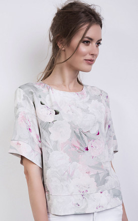 Pink Floral Silk Top With Kimono Sleeve by ABIGAIL LONDON Product photo