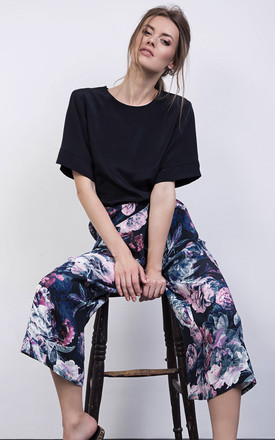 Navy Floral Print Silk Culottes Trousers by ABIGAIL LONDON Product photo