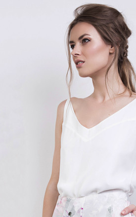 White Silk Cami Vest Top by ABIGAIL LONDON Product photo