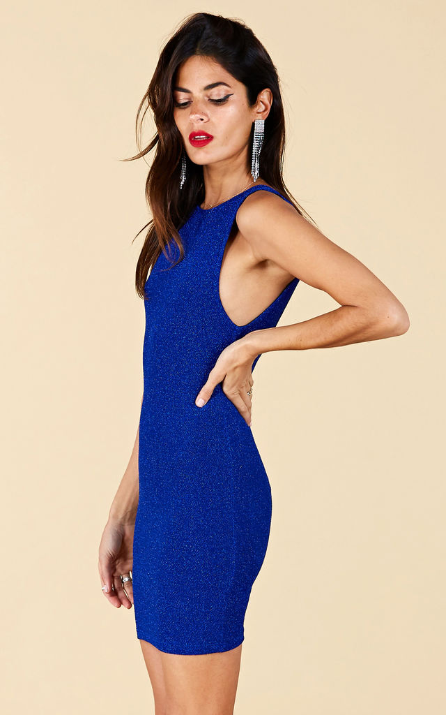 MARTINEZ SCOOPBACK DRESS IN BLUE SPARKLE image