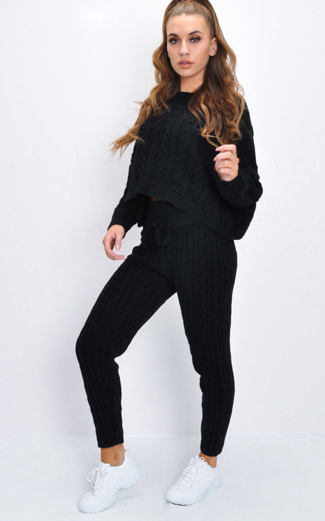 Cable Knitted Loungewear Co Ord Set Black by LILY LULU FASHION