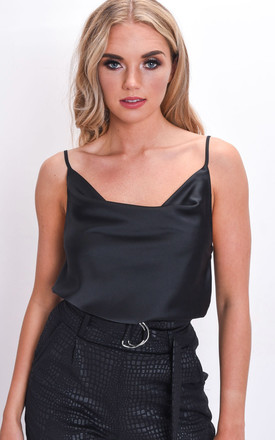 Satin Cowl Neck Top Black by LILY LULU FASHION Product photo