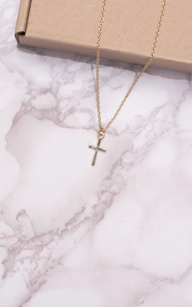 Cross Pendant Necklace in Gold by The Lustre Company