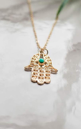 Hamsa Hand Cut Out Pendant in Gold by The Lustre Company