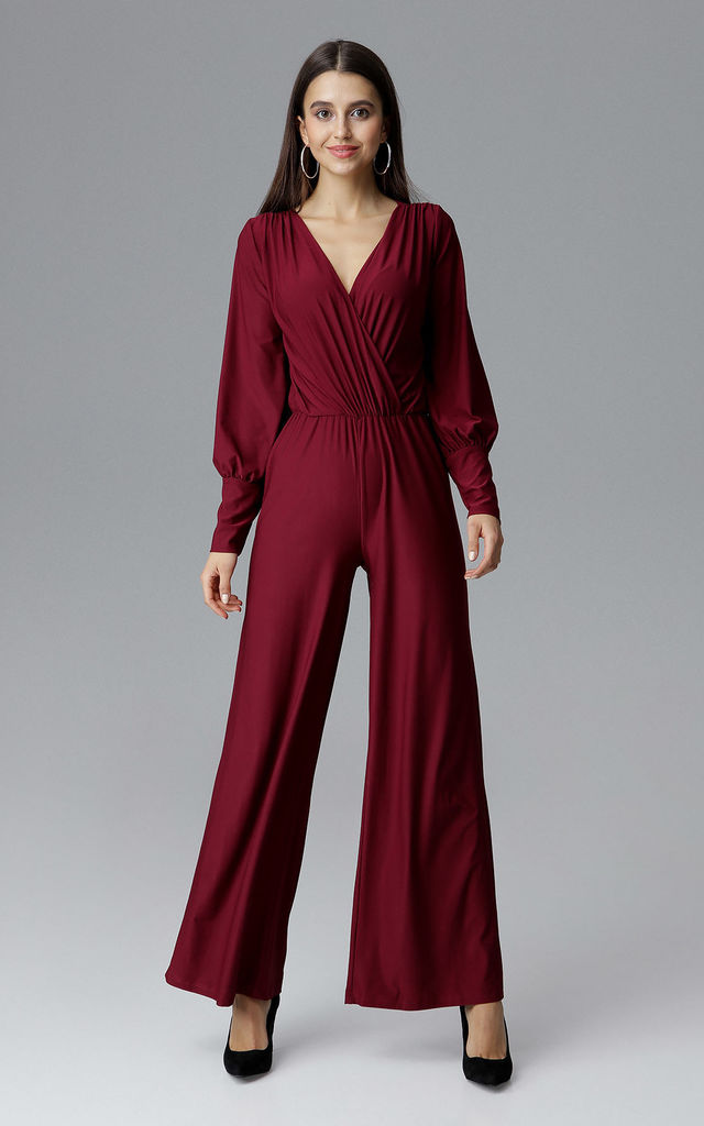 ... Deep Red Jumpsuit With Bishop Sleeves by FIGL ... 5642492bf