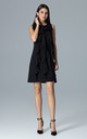 Black Trapezoidal Dress With Frills by FIGL