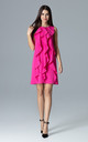 Fuchsia Trapezoidal Dress With Frills by FIGL