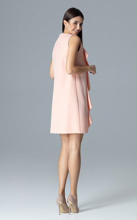 Pink Trapezoidal Dress With Frills by FIGL