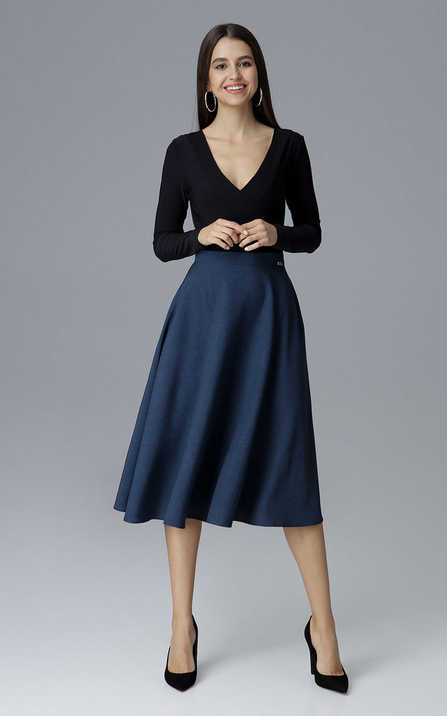 Navy Flared Skirt by FIGL