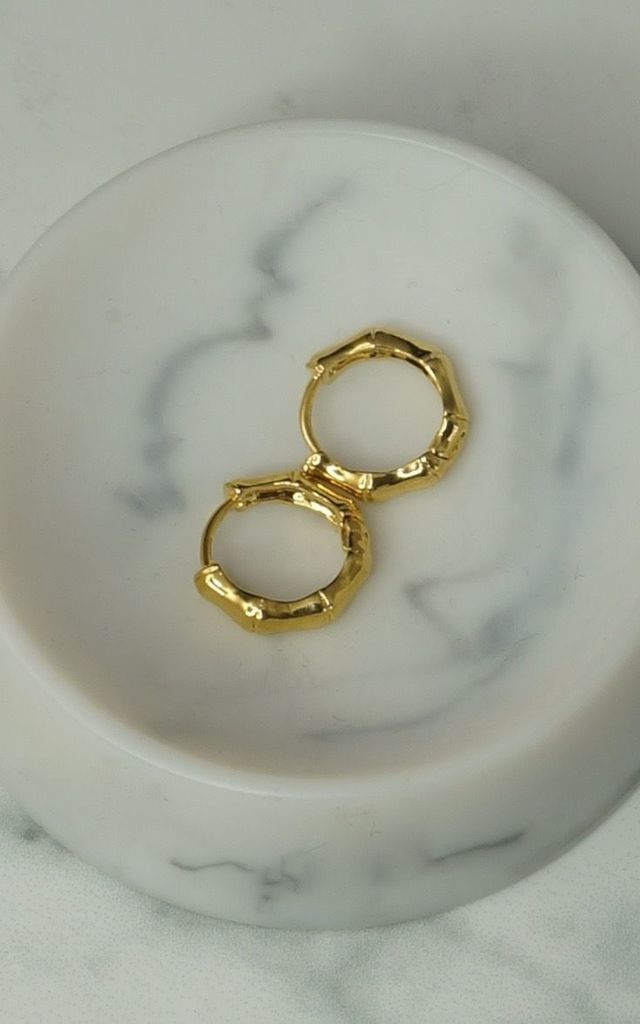 24k gold filled bamboo mini huggie hoop earrings by EPITOME JEWELLERY