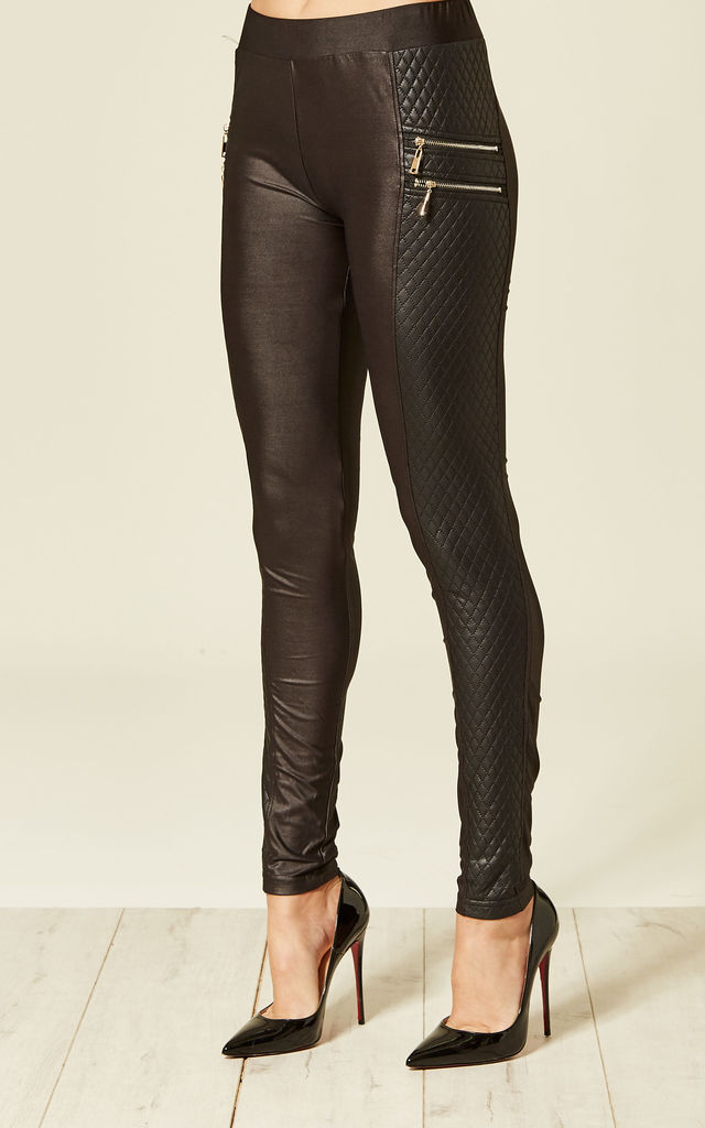 Black Quilted Zip Detail Leggings by MISSI LONDON