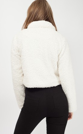 Sophia New Borg Popper Button Cropped Jacket In Cream by Vivichi Product photo