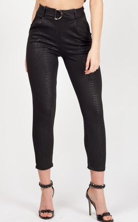 Esmé Belted Croc Print Tapered Trousers In Black by Vivichi