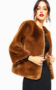 Caramel Open Front Faux Fur Teddy Jacket Coat by Urban Mist