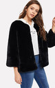 Black Open Front Faux Fur Teddy Jacket Coat by Urban Mist