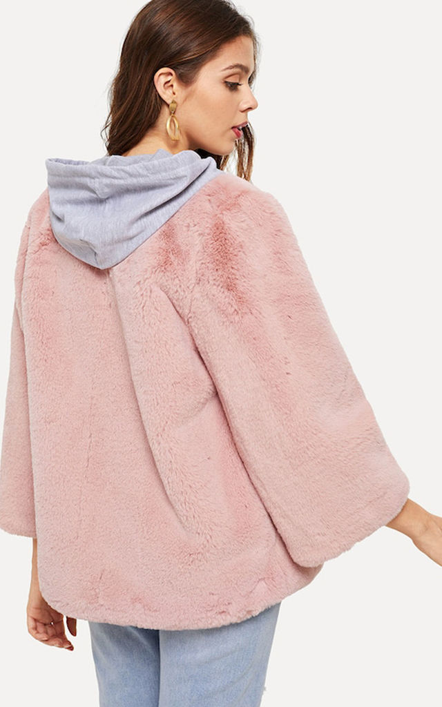 Dusty Pink Open Front Faux Fur Teddy Jacket Coat by Urban Mist