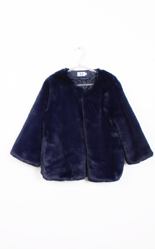 Navy Open Front Faux Fur Teddy Jacket Coat by Urban Mist