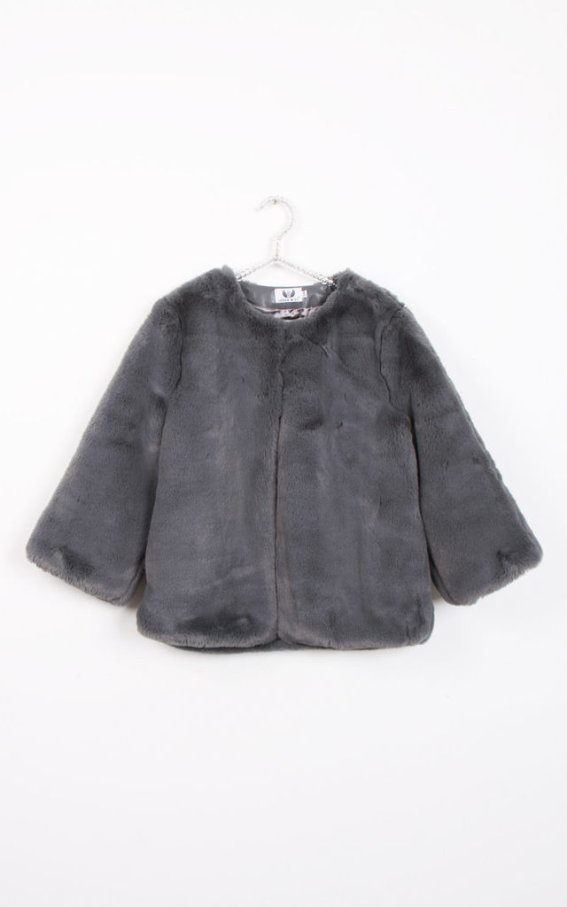 Dark Grey Open Front Solid Faux Fur Teddy Jacket Coat by Urban Mist
