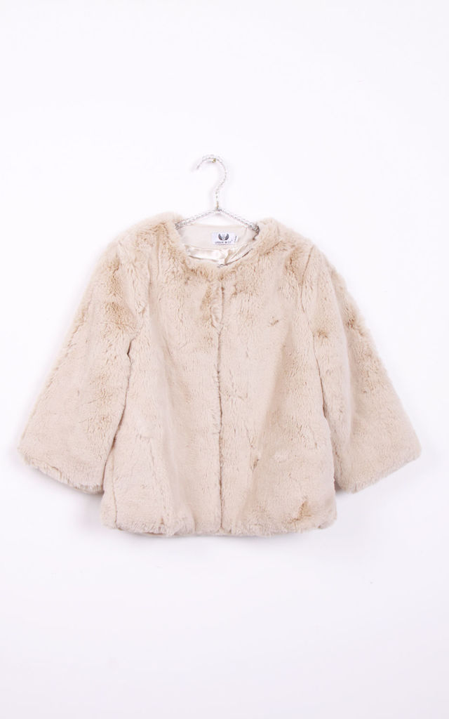 Beige Open Front Solid Faux Fur Teddy Jacket Coat by Urban Mist