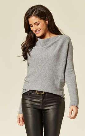 Grey Knit Cowl Neck Jumper by ANGELEYE
