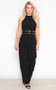 Belle High Neck Wide Leg Jumpsuit With Belt Black by Girl In Mind