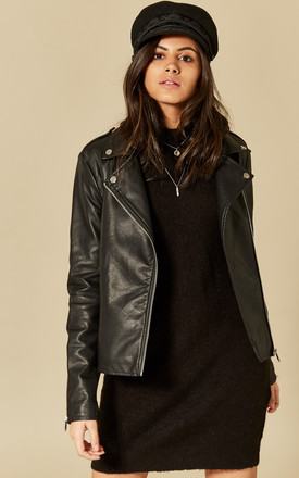 Black Faux Leather Jacket by VILA Product photo