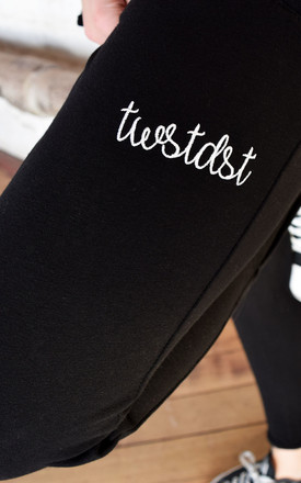 Signature Slogan Joggers in Black by Twisted Saint