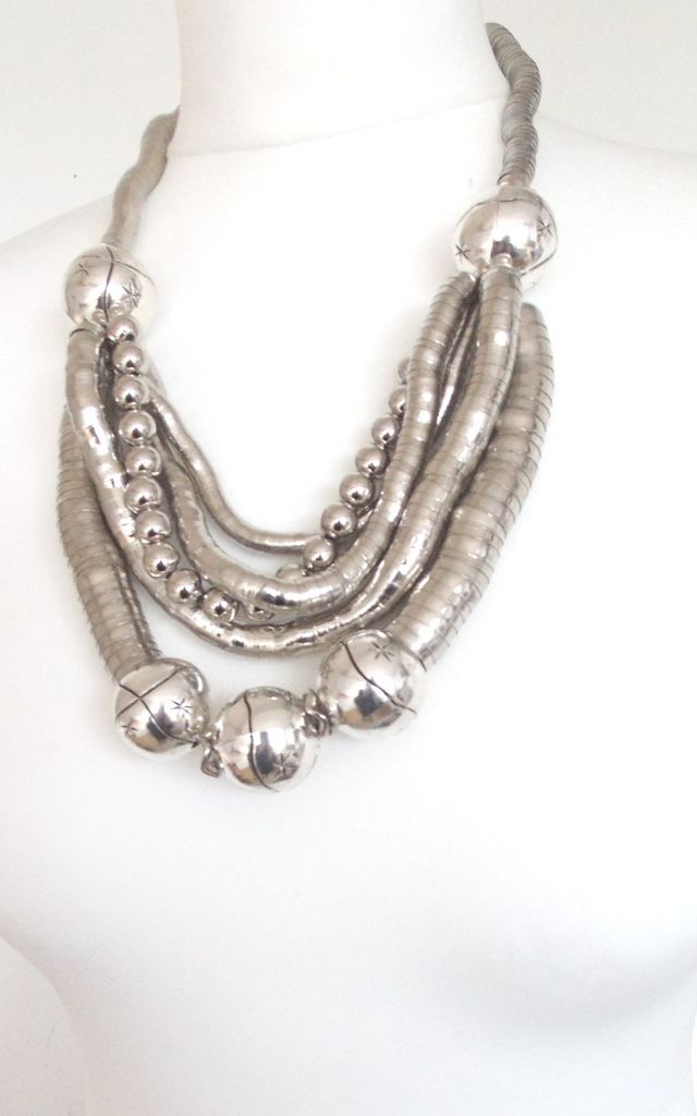 Chunky Silver Metallic Bendy Statement Neclace by Olivia Divine Jewellery