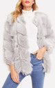 Silver Grey Chevron Paneled Faux Fur Jacket Coat by Urban Mist