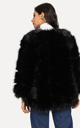 Black Chevron Paneled Faux Fur Jacket Coat by Urban Mist