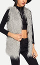 Grey Mongolian Shaggy Faux Fur Gilet by Urban Mist